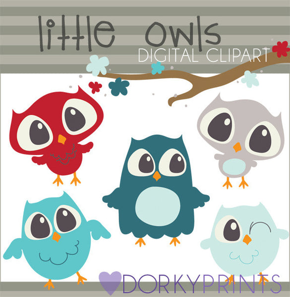 Blue and Red Owls Bird Clipart