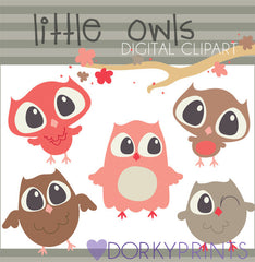 Coral and Tan Owls Bird Clipart