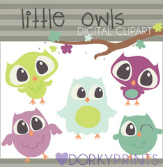 Green and Purple Owls Bird Clipart
