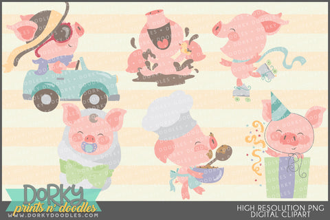Cute Little Piggies Animals Clipart