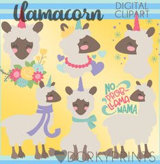 Llama Unicorn Animals Clipart