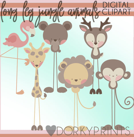 Long Leg Jungle Animals Clipart