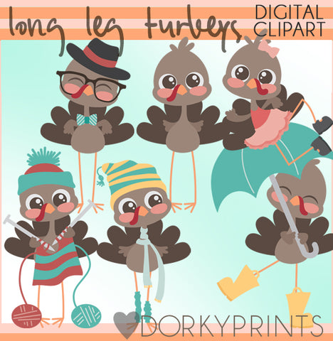 Long Leg Turkeys Thanksgiving Clipart