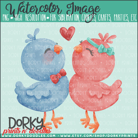 Love Birds Valentine's Day Watercolor PNG