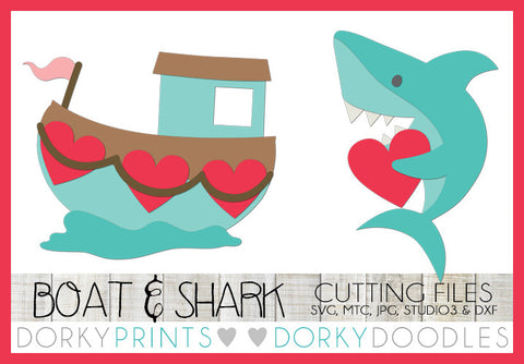 Love Boat and Shark with Heart Valentine SVG Cuttable Files