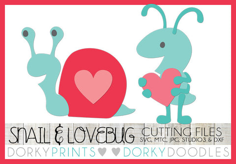Love Bug and Snail with Heart Valentine SVG Cuttable Files
