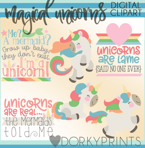 Magical Unicorn Character Clipart