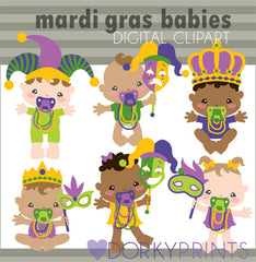 Mardi Gras Babies Holiday Clipart