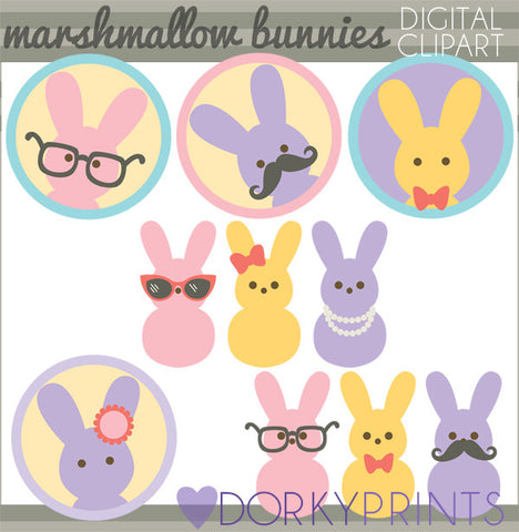 Marshmallow Bunnies Spring Clipart