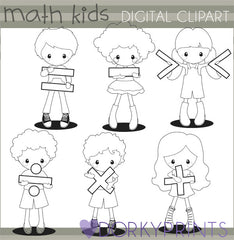 Math Kids Black Line School Clipart