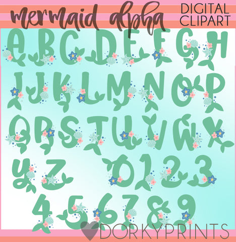 Mermaid Tails Font and Symbols Clipart