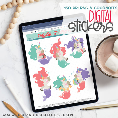 Mermaid Unicorn Digital Planner Stickers