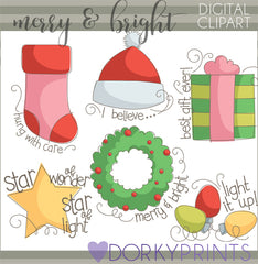 Merry and Bright Christmas Clipart