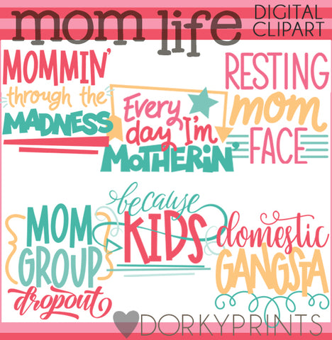 Mom Life Word Art Holiday Clipart