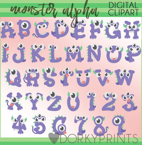Monster Mouth Font and Symbols Clipart