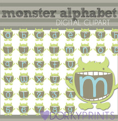 Monster Alphabet Symbols Clipart