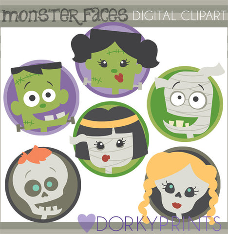 Classic Monster Faces Halloween Clipart