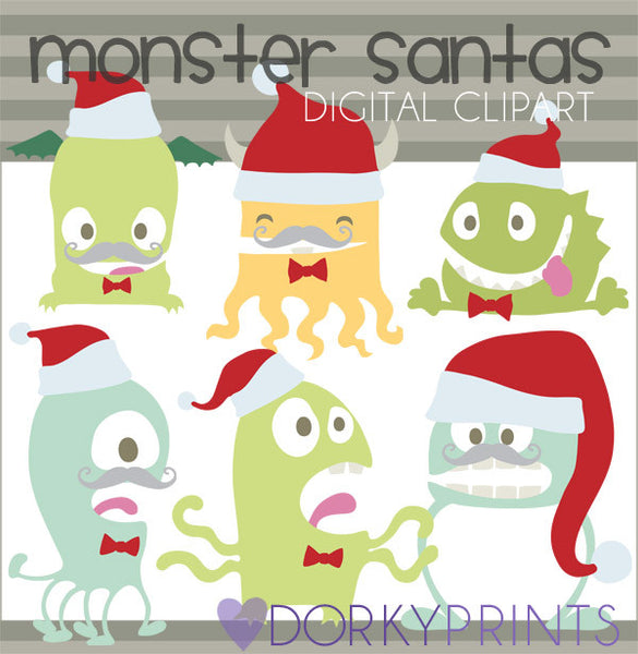 Monster Santa Christmas Clipart
