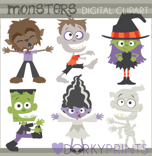 Classic Monsters Halloween Clipart