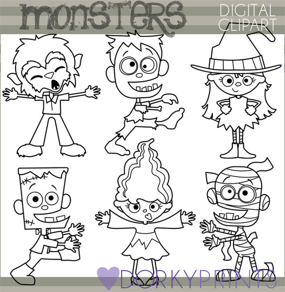 Blackline Monsters Halloween Clipart