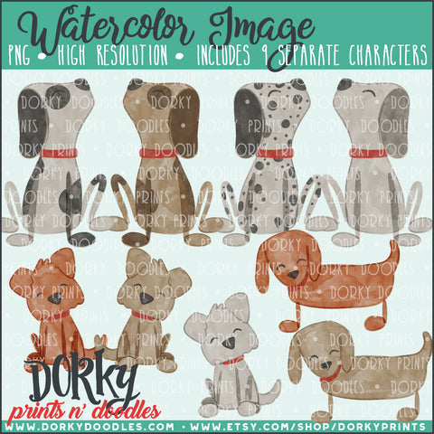 Family Pets Watercolor PNG Alternate Dogs