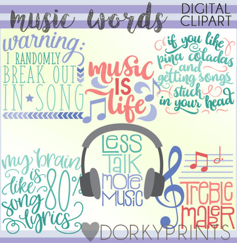 Music Words Clipart