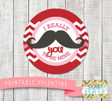 Mustache Valentine Circle Tags Holiday Printables
