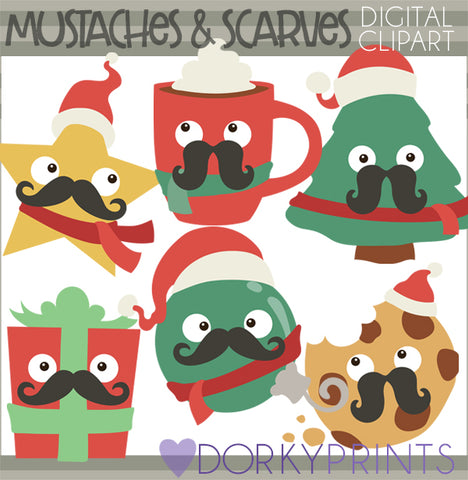 Mustache and Scarf Christmas Clipart