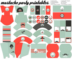 Mustache Birthday Party Printables