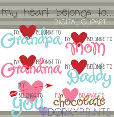 """My Heart Belongs To..."" Valentine Clipart"