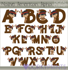 Native American Boy Alphabet Symbols Clipart