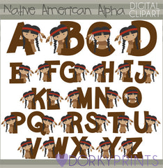 Native American Girl Alphabet Symbols Clipart