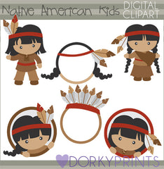 Native American Kids Thanksgiving Clipart
