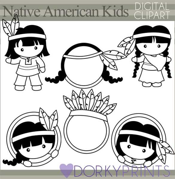 Native American Black Line Thanksgiving Clipart