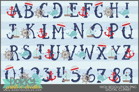 Nautical Font and Symbols Clipart