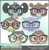 Cute Nerdy Animals Clipart