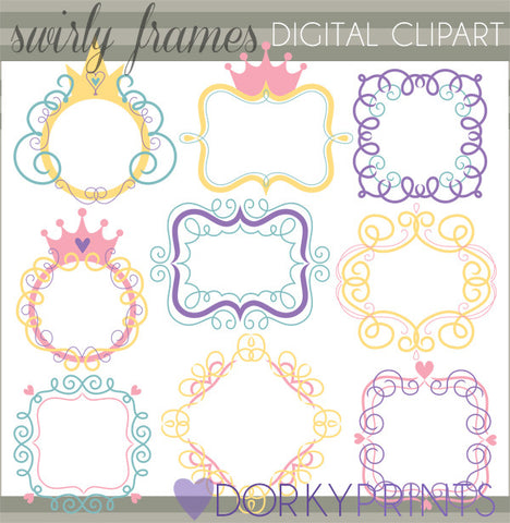 Nine Swirly Clipart Frames