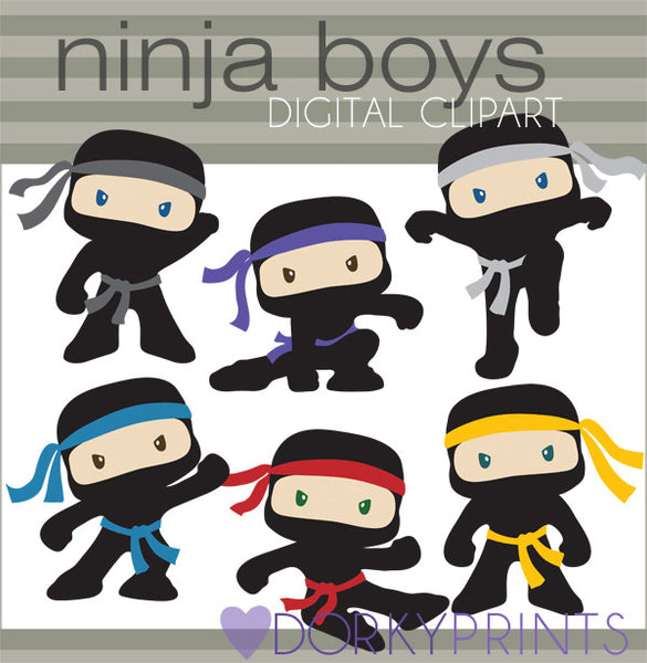 Boy Ninjas with No Weapons Hero Clipart
