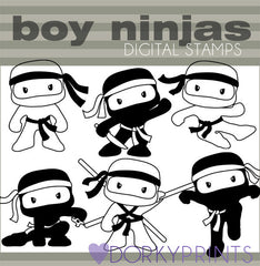 Ninja Boys Blackline Hero Clipart