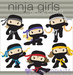 Girl Ninjas with No Weapons Hero Clipart