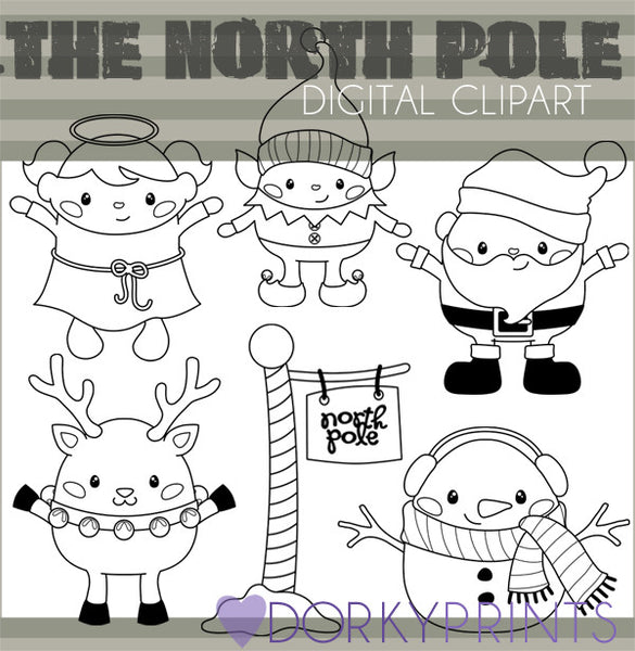 Santa's North Pole Black Line Christmas Clipart