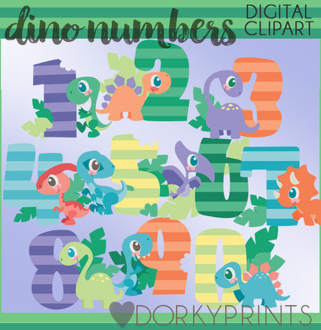 Dinosaur Numbers Birthday Clipart