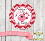 Fish Valentine Circle Tags Holiday Printables