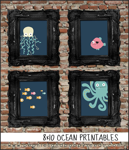 "Ocean Party 8x10"" Printable - 4 Pack"