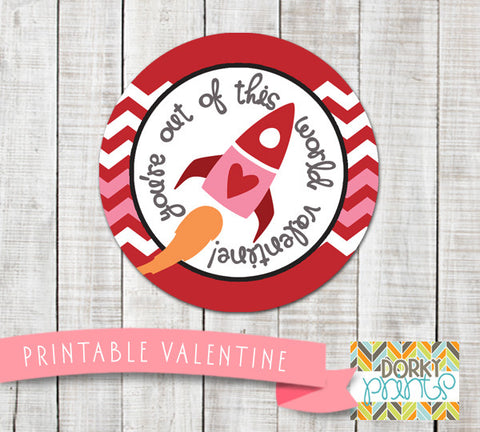 """Out of this World"" Valentine Circle Tags Holiday Printables"