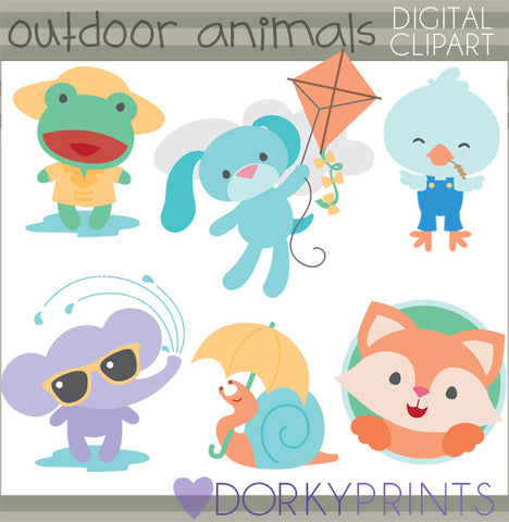 Boy Outdoor Animals Summer Clipart