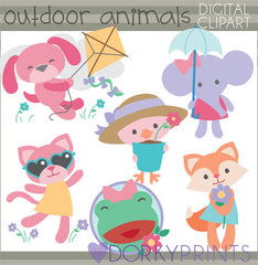 Girl Outdoor Animals Summer Clipart