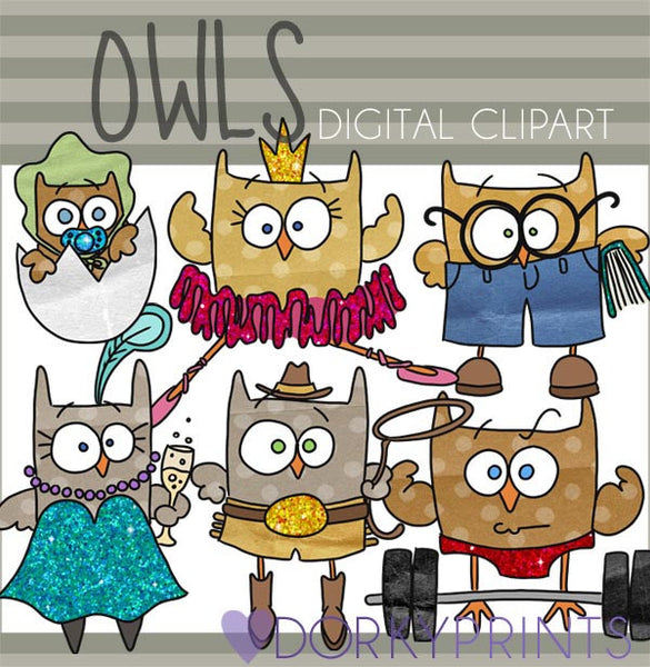 Funny Owls Bird Clipart