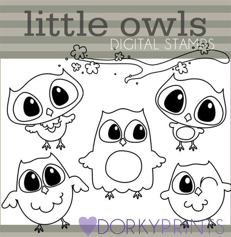 Owls Blackline Bird Clipart