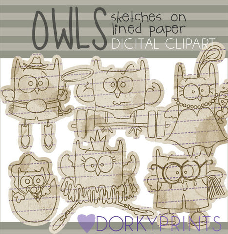 Owl Sketches Bird Clipart